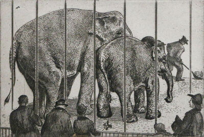 Waldo Park Midgley, 'Elephants at Zoo', ca. 1950