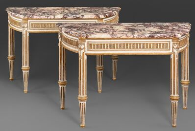 Unknown, 'A PAIR OF ITALIAN ROYAL LOUIS XVI LACCA AND GILTWOOD CONSOLE TABLES WITH BRECCIA DI VITULIANO MARBLE TOPS', ca. 1790
