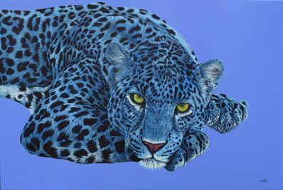 Helmut Koller, 'Blue Leopard with Yellow Eyes', 2017