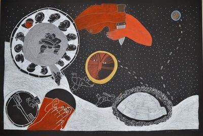 Ningeokuluk Teevee, 'The Origin of the Sun and Moon', 2016
