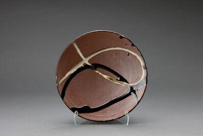 Shōji Hamada, 'Plate, tenmoku and nuka glaze with ladle poured decoration'