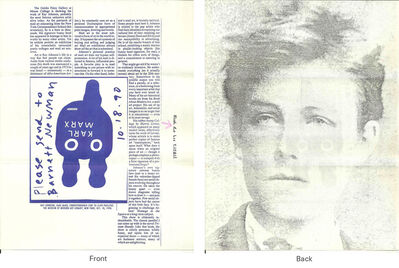 Ray Johnson, 'Mail Art + Ephemera, Dear Raphael Rubinstein at Art In America (Rimbaud-Marx)', ca. 1990