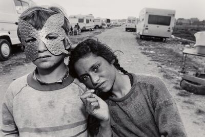 Mary Ellen Mark, 'Boy with a Mask and His Sister, Gypsy Camp, Barcelona, Spain', 1987