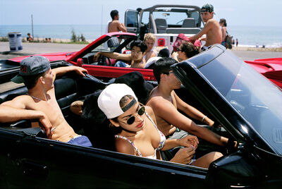 Lauren Greenfield, 'Mijanou, 18, who was voted Best Physique at Beverly Hills High School, skips class to go to the beach with friends on the annual Senior Beach Day, Santa Monica, California', 1993