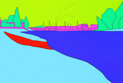 Michael Craig-Martin, 'Deconstructing Seurat (blue) 2', 2004