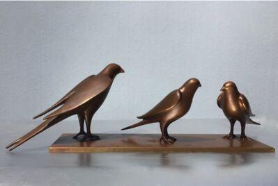 Gwynn Murrill, '3 Birds on Bronze Plate'