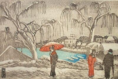 Kazuma Oda, 'Willow Bridge in Snow', ca. 1924