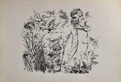 George Grosz, '1936 Lithograph Interregnum Portfolio Windblown Man Small Edition Weimar Germany', 1930-1939