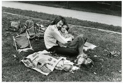 Paul McDonough, 'Central Park, Couple with Baby in Newspaper', 1973