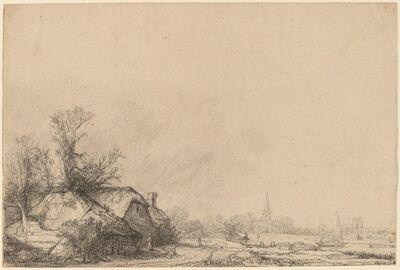Rembrandt van Rijn, 'Cottage beside a Canal', ca. 1645