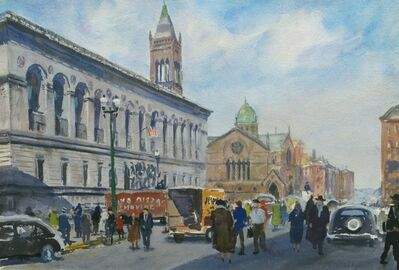 John Whorf, 'Boston Public Library and Dartmouth Street, Boston, Massachusetts'