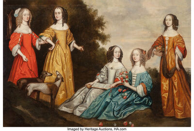 English School (17th Century), 'Group portrait of five women in a landscape', circa 1650