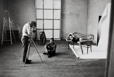William Claxton, 'Rudi Gernreich and Peggy Moffitt being photographed by Jeanloup Sieff, Paris', 1965