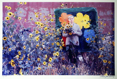 William John Kennedy, 'Andy Warhol with Flowers and his Flowers canvas in the background ', 1964