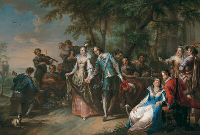 Franz Christoph Janneck, 'Entertainment outside with dancing', 1738