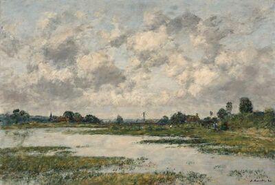 Eugène Boudin, 'Les Bords de la Touques a Trouville Pendant les Grandes Marees', 1889
