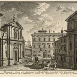 Giuseppe Vasi, 'Monastero, e Chiesa di S. Apollonia, e quella di S. Margarita delle Suore Francescane', 1747-1801