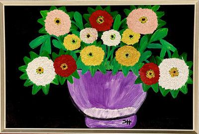Clementine Hunter, 'Zinnias in a Pot', ca. 1965