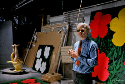 Bob Adelman, 'Andy Warhol at the Factory with 'Flower' Paintings', 1965