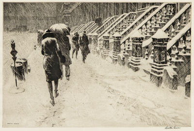 Martin Lewis, 'Stoop in Snow', 1930