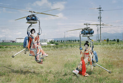 Tim Walker, 'Mari Hirao and Yui Yamamoto operating Gen H-4 flying machines. Nagano, Japan, 2016', 2019