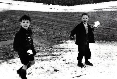 Roger Mayne, 'Two Boys Holding Snowballs, London', 1955