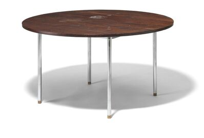 "Hans Jørgensen Wegner, 'JH 752. Circular Brazilian rosewood dining table with extension and two extra leaves. Steel frame, round legs with rosewood ""shoes"".'"