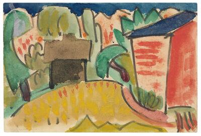 Karl Schmidt-Rottluff, 'Landschaft mit Häusern', 1921
