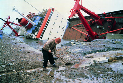 "Allan Sekula, 'Shipwreck and Worker, Istanbul from ""TITANIC's wake""', 1998-2000"