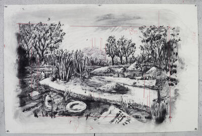 William Kentridge, 'Drawing for City Deep (Landscape with Miner's Pan)', 2019