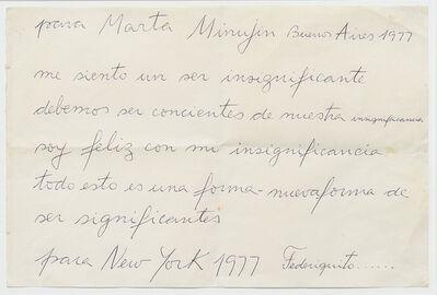 Federico Manuel Peralta Ramos, 'Carta para Marta Minujin', 1977