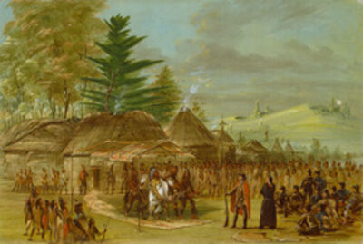 George Catlin, 'Chief of the Taensa Indians Receiving La Salle.  March 20, 1682', 1847/1848