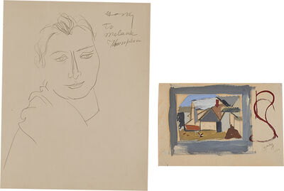 Arshile Gorky, 'Two works of art (framed together): Portraits of a Woman: A Double-Sided Drawing'