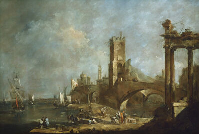 Francesco Guardi, 'Capriccio of a Harbor', ca. 1760/1770