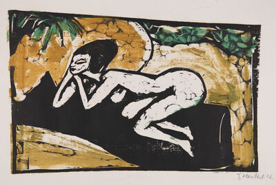 Erich Heckel, 'Liegende auf schwarzem Tuch ', 1911