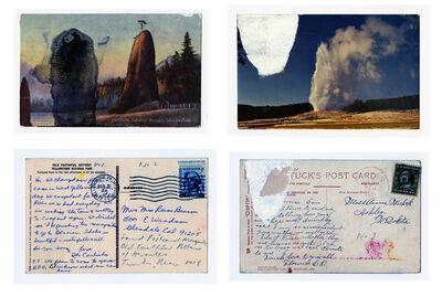 Tacita Dean, 'Found Postcard Monoprints (Old Faithful Pillars of Hercules)', 2018