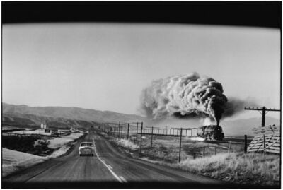 Elliott Erwitt, '6. Wyoming. (Train & car)', 1954