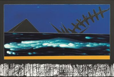 Franco Angeli, 'Landscape with yellow chrome', dating back to 1984-1988