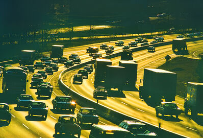 Mitchell Funk, 'Backlit Traffic on the Long Island Expressway with Skimming  Golden Light ', 1975