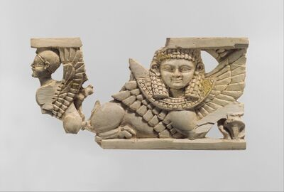 Unknown Assyrian, 'Openwork furniture plaque with two sphinxes', ca. 9th–8th century BC