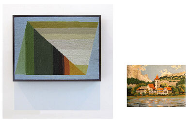 Andrea Canepa, 'Pueblo con tejados naranjas y torre de iglesia, lago en primer plano y bosque y montañas al fondo', 2014