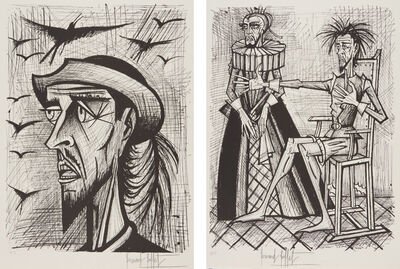 Bernard Buffet, 'Don Quixote avec chapeau (Don Quixote with Hat); and Don Quixote et la Duena (Don Quixote and the Duena), from Don Quixote', 1989