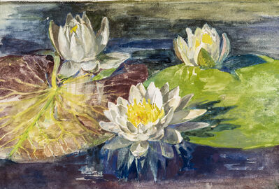 John La Farge, 'Water Lilies with Red and Green Pads: Study from Nature'