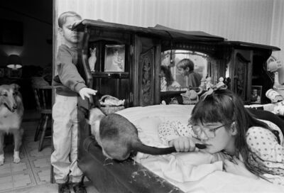 Sage Sohier, 'Children in Bedroom with Cat and Collie, Newton, New Hampshire', 1992