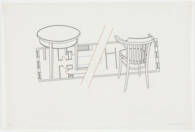 Michael Craig-Martin, 'Untitled (apartment floor plan with chair and table)', 1981