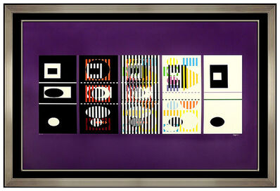 Yaacov Agam, 'Yaacov Agam Large Original Color Serigraph Signed Op Artwork Illusion Painting', 20th Century
