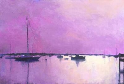 "Larry Horowitz, '""Edgartown Harbor In Mauve"" oil painting of harbor with sailboats in lavender tone', 2010-2018"