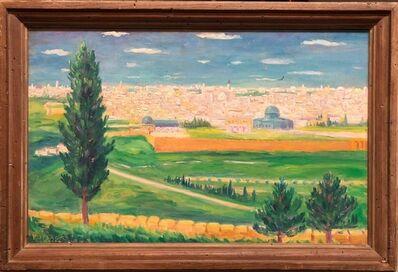 Arye Leo Peysack, 'German Israeli Oil Painting Jerusalem Panorama of Old City Walls', Early 20th Century