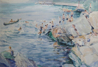 Waldo Park Midgley, 'Bathers on Rocky Shore', 1937