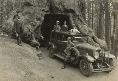 Audley D. Stewart, 'George Eastman and companions riding through Wawona Tree in Yosemite National Park, Pacific Coast Trip', 1930